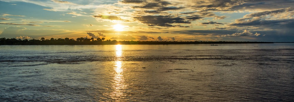 Amazon river sunset.