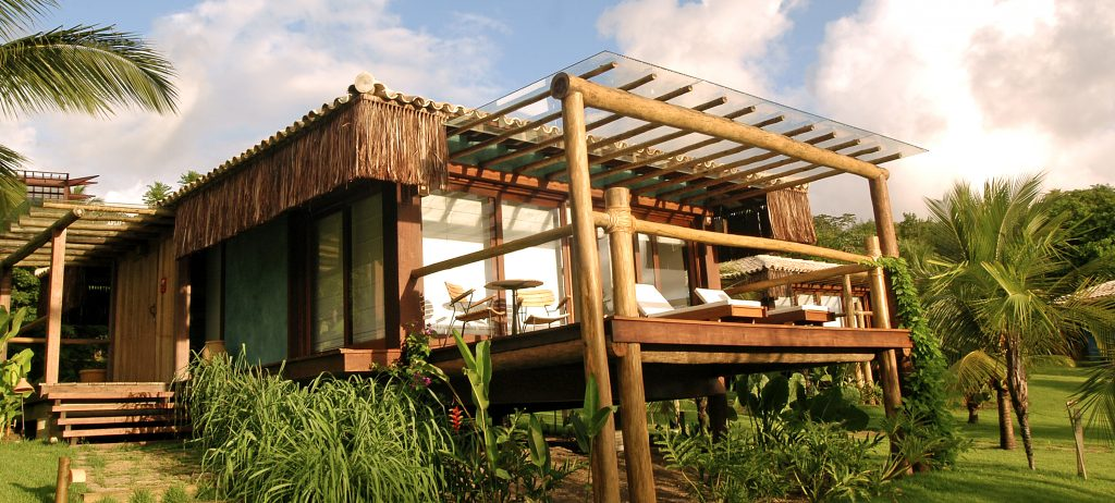 One of the bungalows on stilts at the Txai resort, Itacaré.