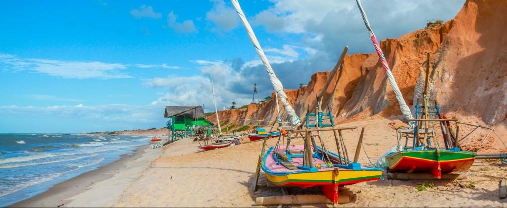 Jangadas on the beach at Canoa Quebrada.