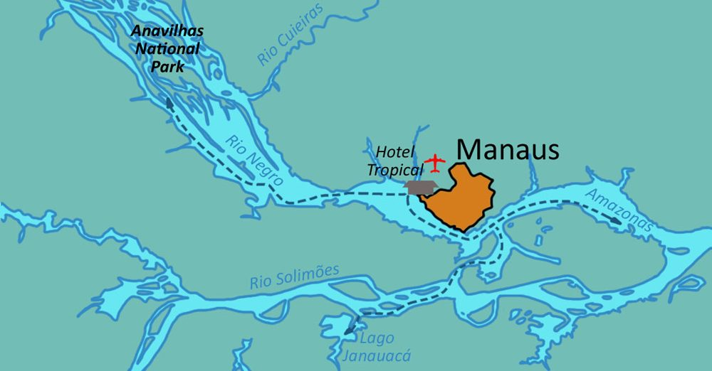 The Amazon and Rio Negro rivers, in relation to Manaus.