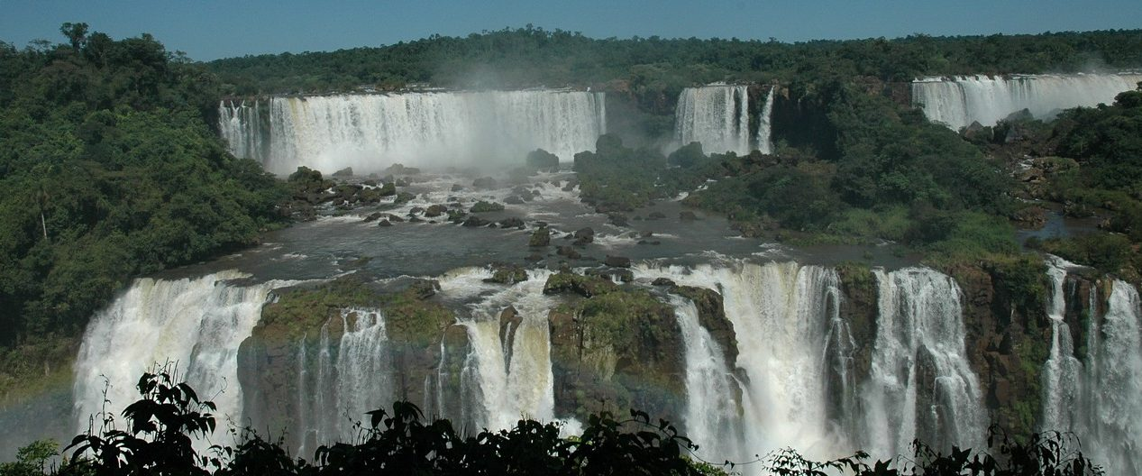 Darkness falls around the Argentinian side of the Iguassu falls.