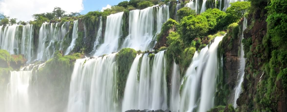 The multi level waterfalls on the Argentinian side.