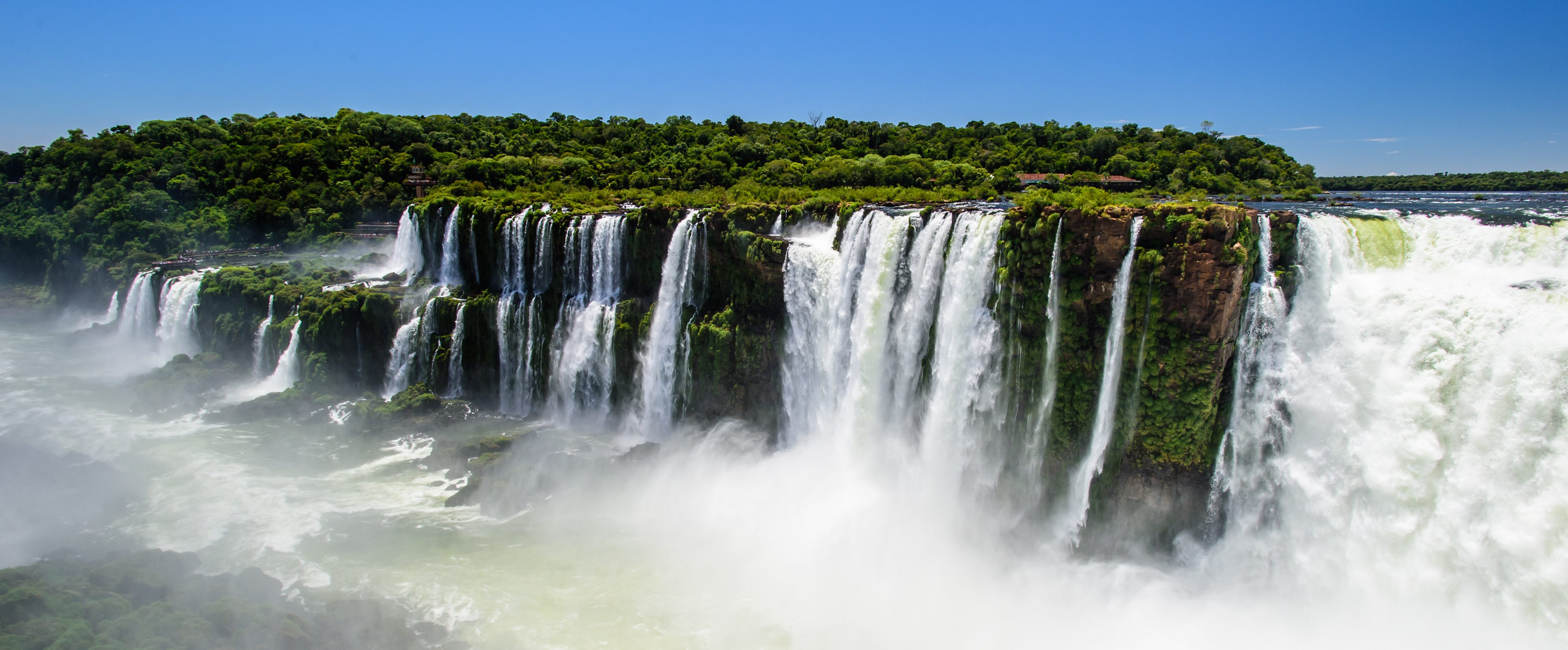 A panoramic view of the mighty Iguacu Falls.
