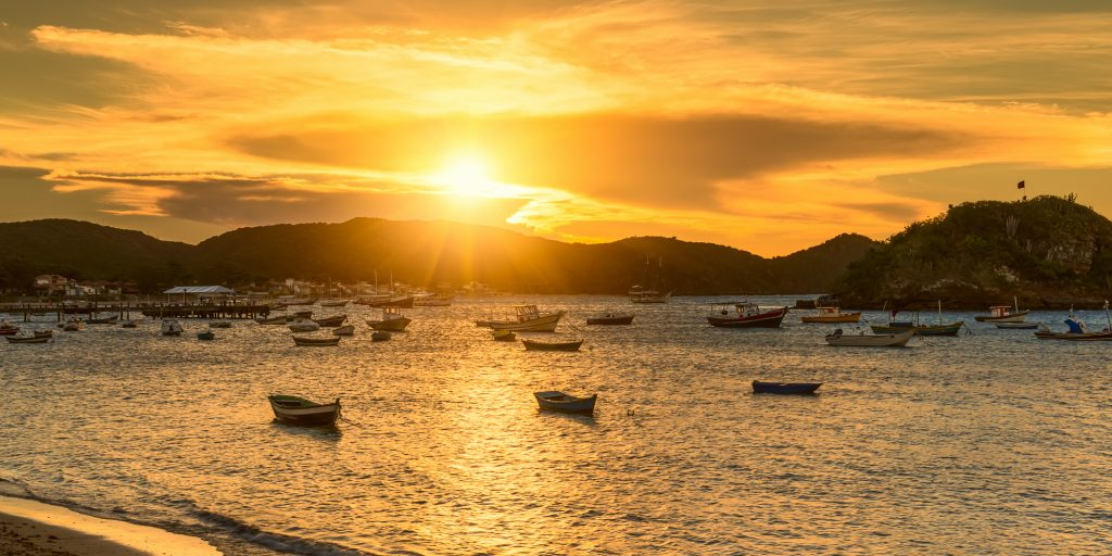 The golden glow of the sunset over Ilha Grande.