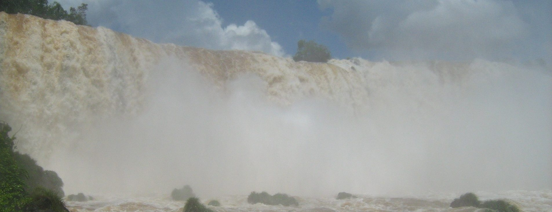 A wall of white water at the Iguassu falls.