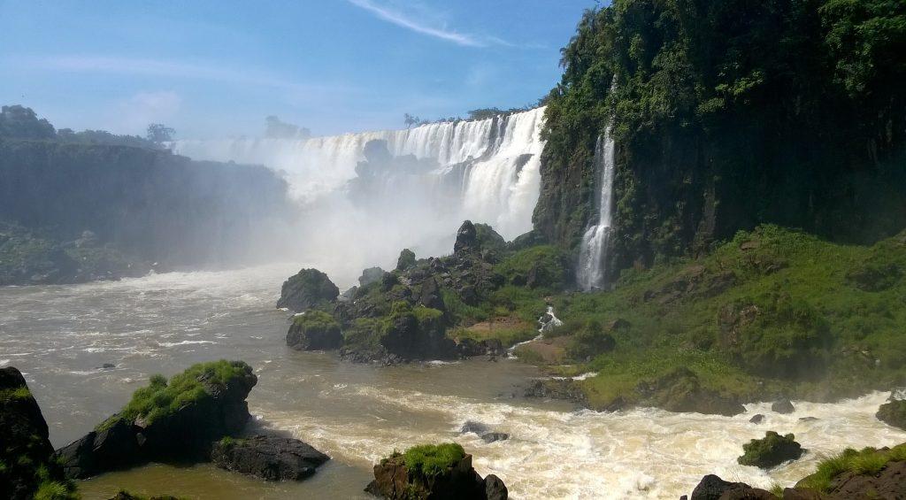 Iguazu falls view with clouds