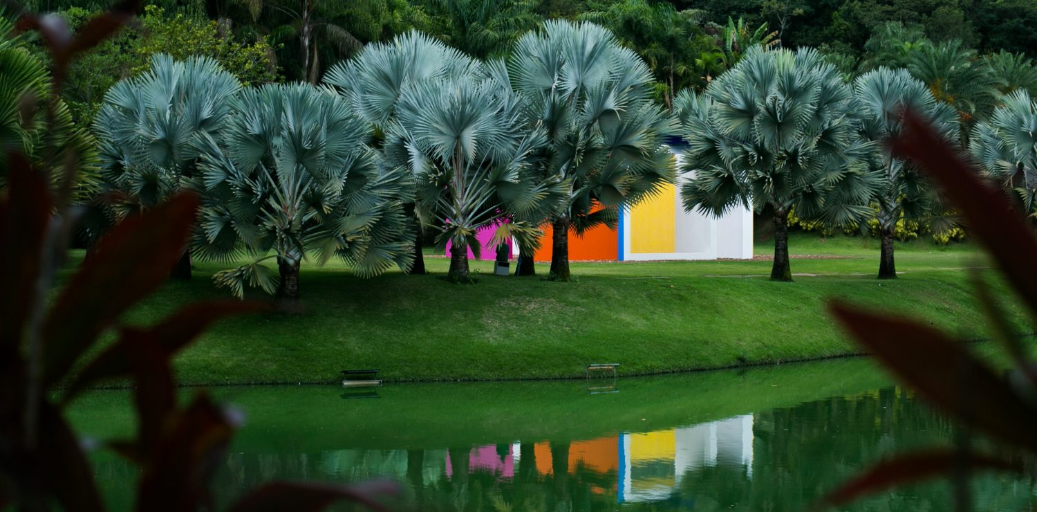 Sculptures of modern art at Inhotim botanical gardens.