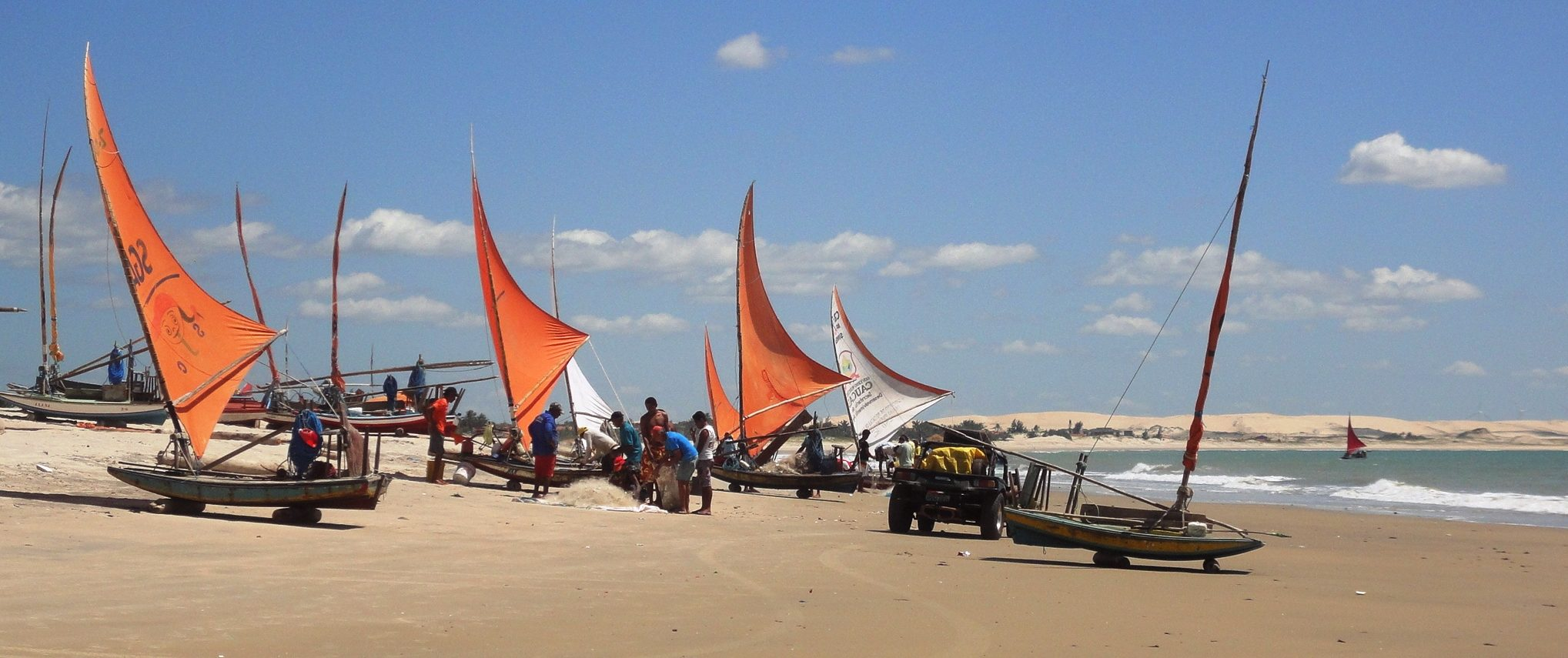 Jangadas on the beach, on the coast of Nordeste.