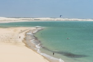 Some kitesurfers enjoy the vast beaches of the Nordeste.