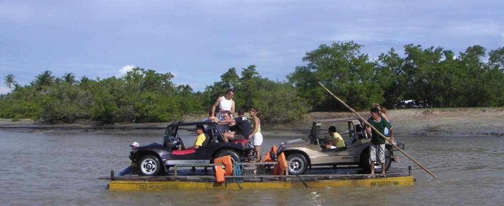 Nordeste buggy crossing a river on a ferry.