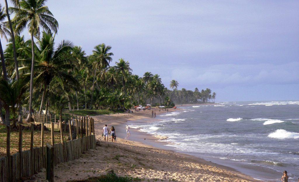 A couple walk hand in hand down the beach at praia do forte.