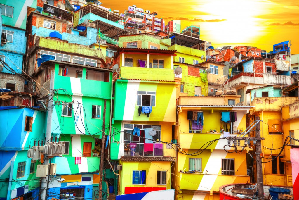 The colourful houses of the Rio de Janeiro favela.