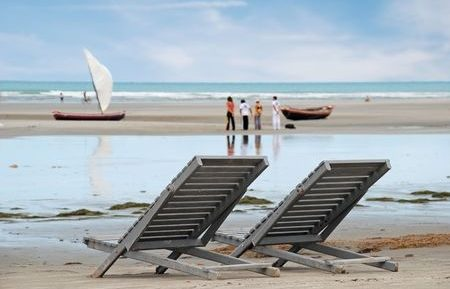 Two empty beach loungers in Jericoacoara.