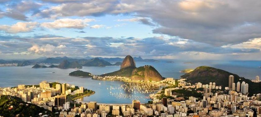 Aerial view of beautiful Rio De Janeiro at dawn.