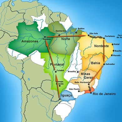 Map outlining Brazil Selection Grand tour of Brazil.