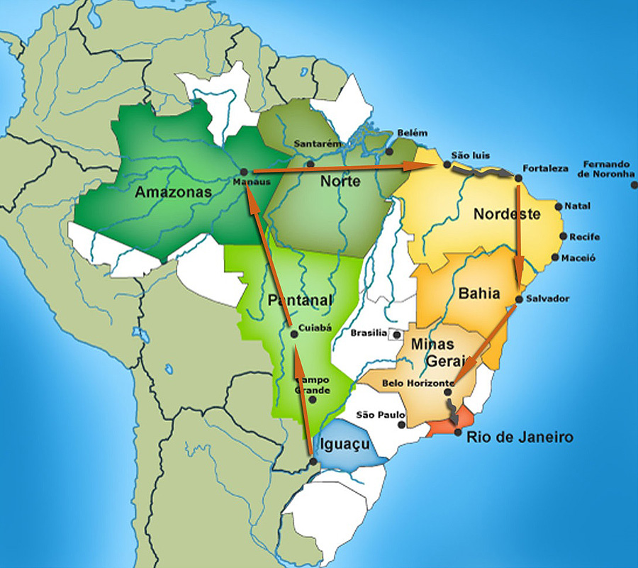 Map of the stops on the Grand Tour of Brazil.