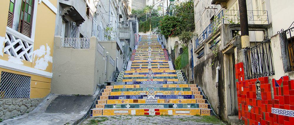 Escadaria Selaron, the famous colourful work of art in in Rio de Janeiro.