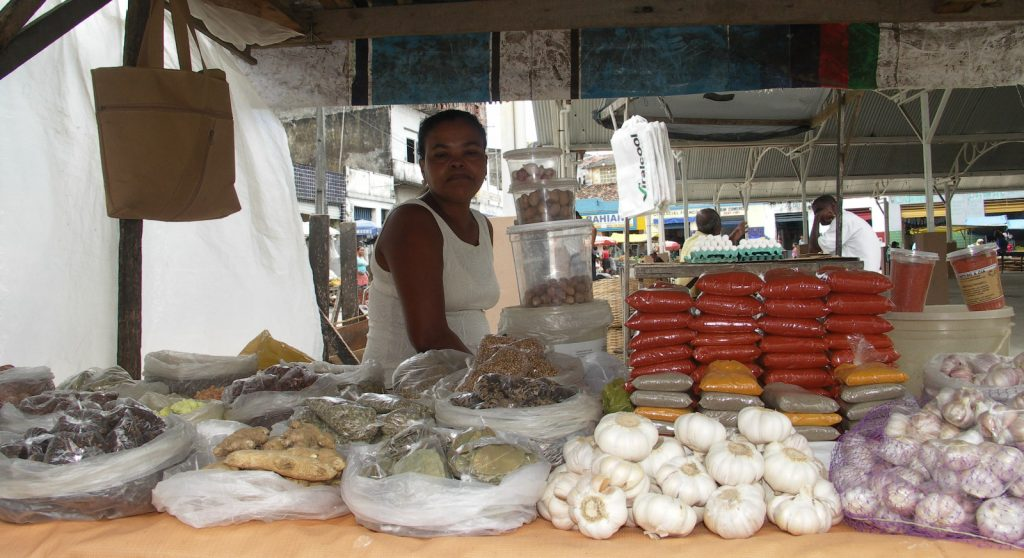 Stall at the market of Santo Amaro.