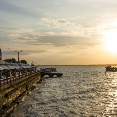 Belem port at sunset.