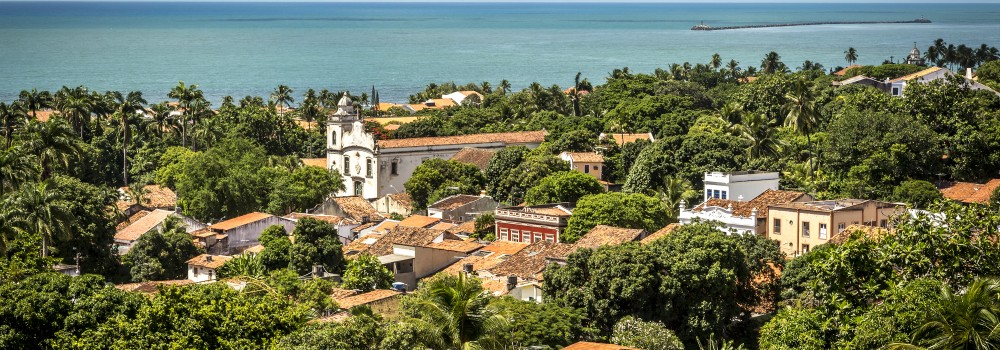Aerial view of olinda and the sea.