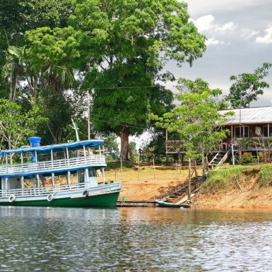 A boat docked on the banks of the Amazon.