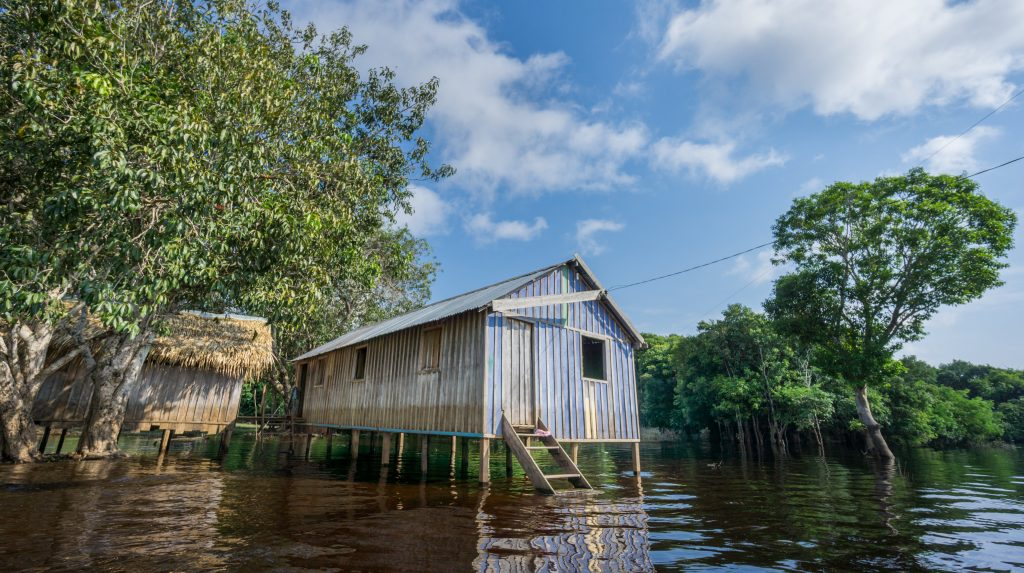 One of the houses on stilts along the banks of the Amazon river.