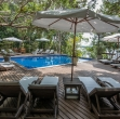 View of the pool at Anavilhanas jungle lodge, the luxury stay in the Amazon rainforest.