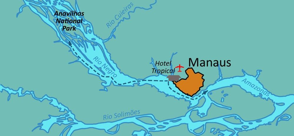 Map showing Anavilhanas National Park in relation to Manaus.