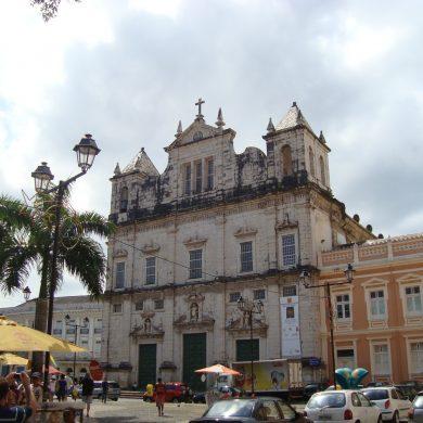 Facade of the cathedral of Salvador de Bahia.