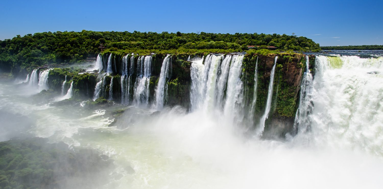 Iguacu Falls view around clouds