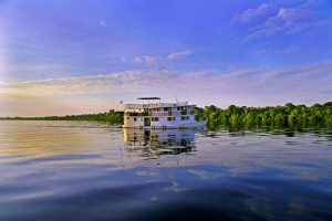 A private river boat, chartered for a tourist cruise on the Amazon.