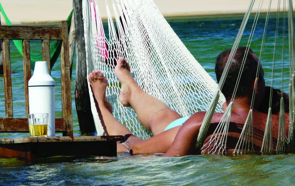 Relax in a hammock on the water in Jericoacoara.