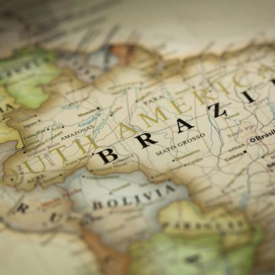 Close-up of Brazil on map.