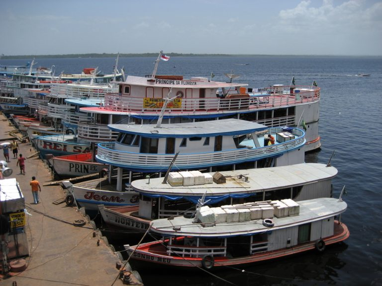 Tourist and sightseeing boats docked up at Manaus port.