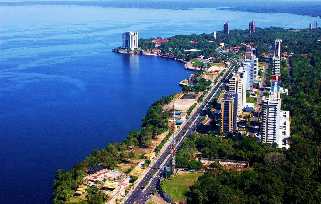 Helicopter view of Manaus.