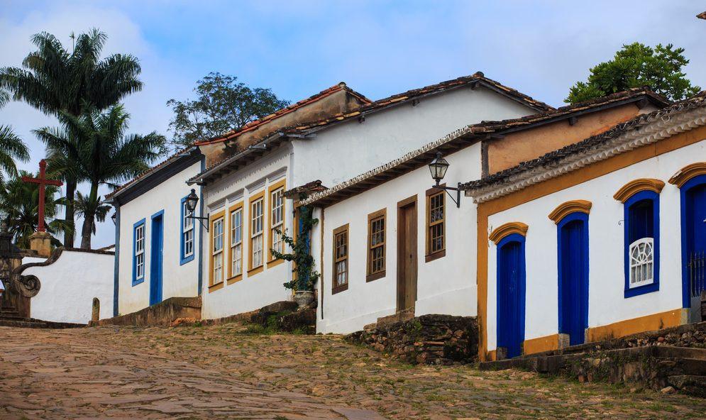 Houses on a cobbled street in Minas Gerais.