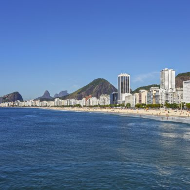 One of the many beautiful beaches of Rio de Janeiro.