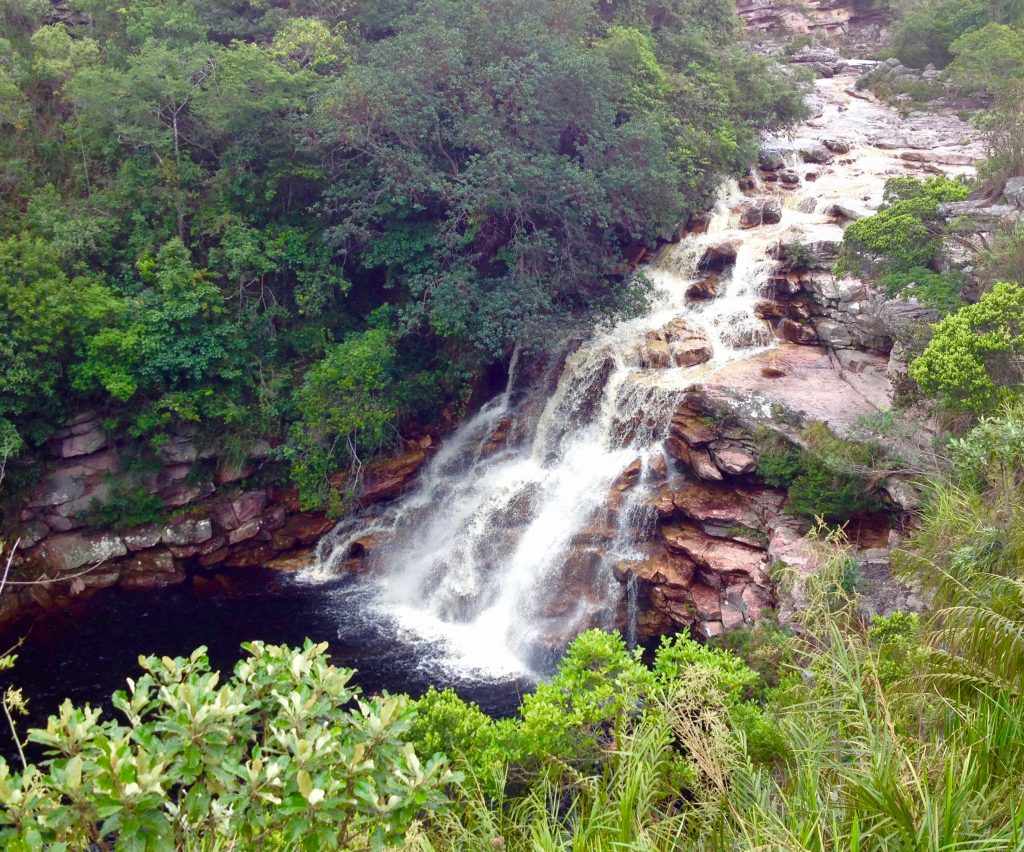A beautiful cascade running over the rocks at Chapada Diamantina.
