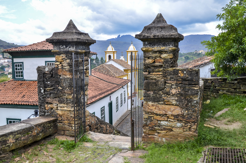 An open gate at ouro preto in Minas Gerais.