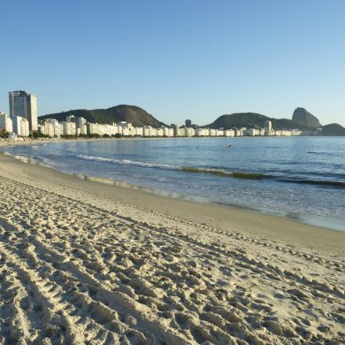 Tracks on Copacabana beach.