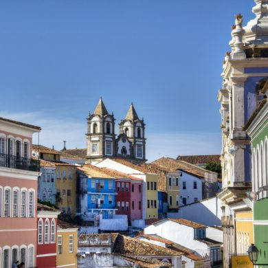 View over the tops of the buildings of Pelourinho in Salvador.