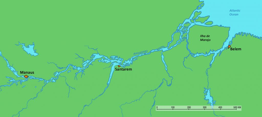 Map of the Amazon river.