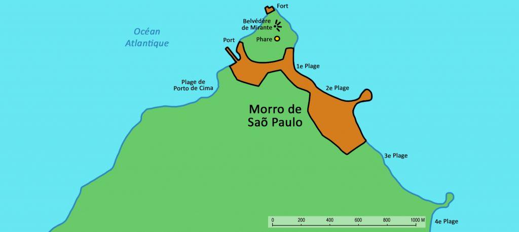 Map highlighting where Morro de Sao Paulo Bahia is on the coast.