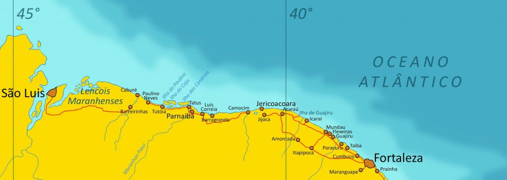 Map showing North East coast of Brazil.