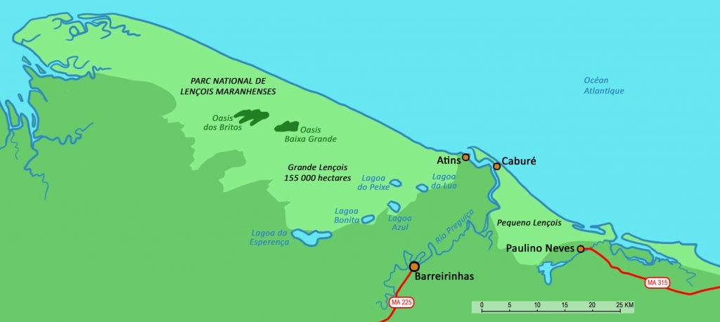 Map showing the location of Lençóis do Maranhao and São Luís.