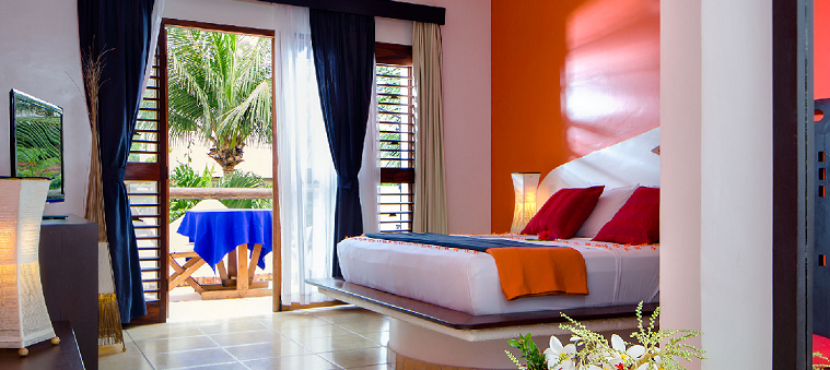 The vibrant and colourful hotel my blue in Jericoacoara.