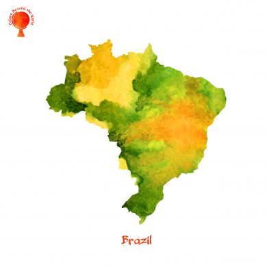 A watercolour map of Brazil.
