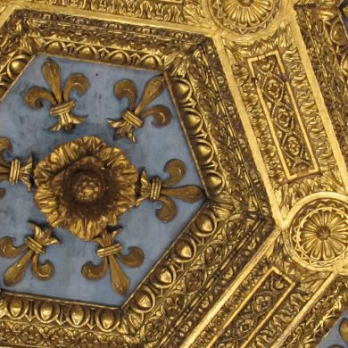 A ceiling, decorated in Baroque style, part of Brazilian culture.