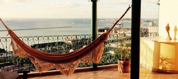 Hammock hangs on the balcony of Pousada do Pilar.