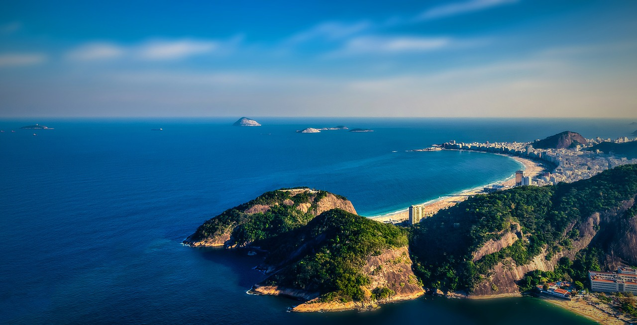 A view of Copacabana from Sugarloaf mountain in mountain.